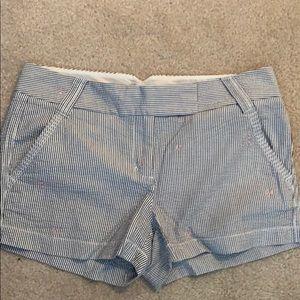 J Crew Embroidered Seersucker Shorts